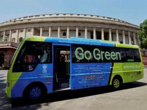 An electric bus which ferries lawmakers to Lok Sabha, at Parliament House on the first day of the second part of budget session in New Delhi