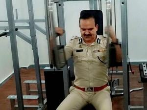 Thane Police Commissioner Param Bir Singh tries his hands on the fitness equipment