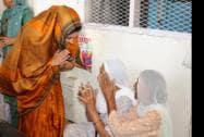 Human Resource Development Minister Smriti Zubin Irani greeting women at the Golden temple