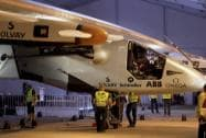 The solar powered Swiss aircraft Solar Impulse 2 lands
