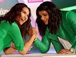 Sakshi Malik and actress Sonakshi Sinha during a promotional event