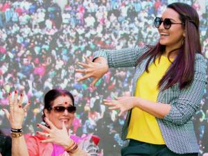 Sonakshi Sinha with her mother Poonam Sinha during an event where women attempted for the Guinness world record for the most number of people painting their fingernails simultaneously