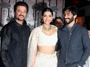 Anil Kapoor with his daughter Sonam Kapoor and son Harshvardhan Kapoor during Diwali celebrations