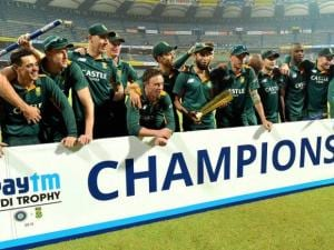 South African players celebrate their one day series win against India