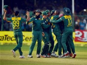 South African team celebrate their win over India  in the first ODI in Kanpur