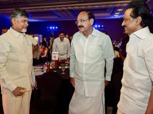 Venkaiah Naidu, Andhra Pradesh Chief Minister Chandrababu Naidu and DMK Working President M K Stalin