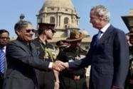 Minister of State for Defence Rao Inderjit Singh  shakes hands with Spanish Defence Minister Pedro Morenes