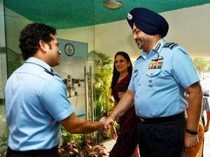 Air Chief Marshal BS Dhanoa with Group Captain (Hony) Sachin Tendulkar