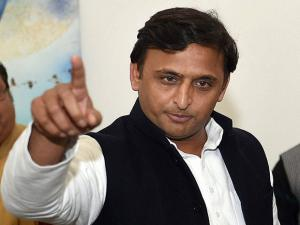 Uttar Pradesh Chief Minister Akhilesh Yadav at a program at his residence in Lucknow