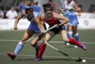 United States' Michelle Vittese fights for the ball with Uruguay's Constanza Barrandeguy