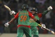 Bangladesh's Mushfiqur Rahim and Soumya Sarkar celebrate