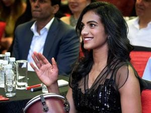 Badminton player P.V.Sindhu plays a musical instrument