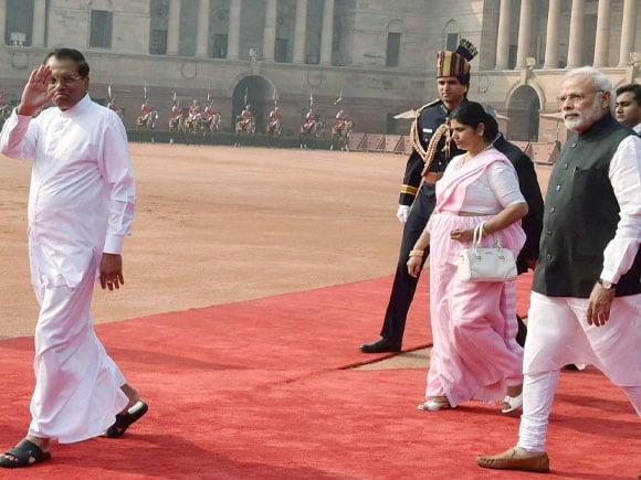 Prime Minister Narendra Modi, President of Sri Lanka, Maithripala Sirisena, Jayanthi Sirisena, Rastrapati Bhawan
