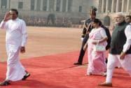 Prime Minister Narendra Modi with Sri Lanka's President Maithripala Sirisena and his wife Jayanthi Sirisena