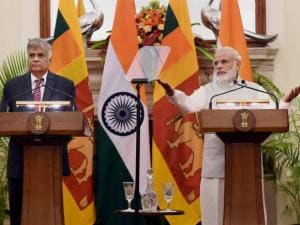 PM Narendra Modi with his Sri Lankan PM Ranil Wickremesinghe