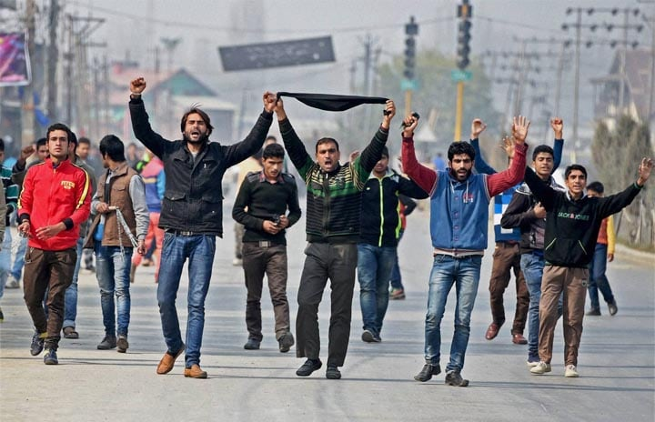 Muslim Shia, mourners, procession, mark, eighth, day, Muharram, Srinagar