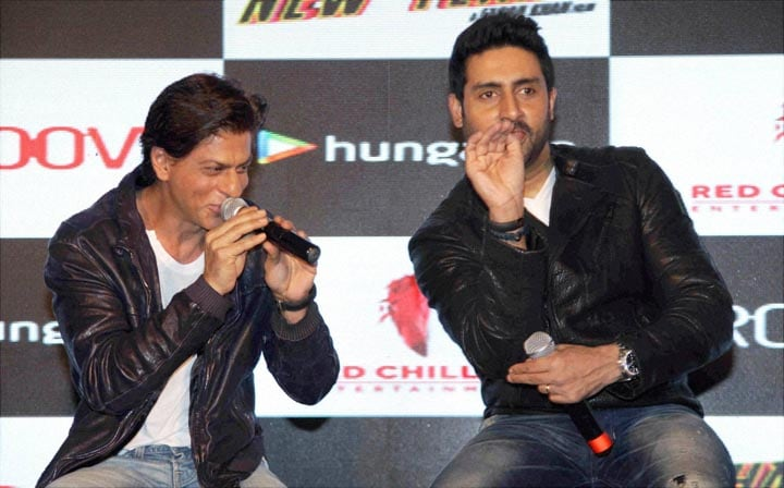 Bollywood actors, Shah Rukh Khan, Abhishek Bachchan, talking, media, promotional event, film, Happy New Year, Mumbai