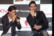 Bollywood actors Shah Rukh Khan and Abhishek Bachchan