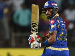 Mumbai Indians batsman Hardik Pandya plays a shot against Rising Pune Supergiants