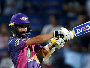 Rising Pune Supergiants batsman Ajinkya Rahane plays a shot during the IPL T20 match