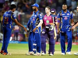 Rising Pune Supergiants batsman Steve Smith celebrates victory during the IPL T20 match