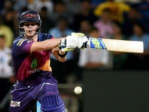 Rising Pune Supergiants batsman steve Smith plays a shot during the IPL T20 match