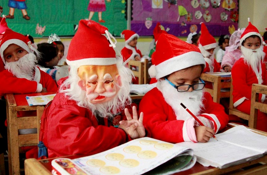 Santa Claus, Christmas, X'mas, Merry Christmas, Christmas celebrations, students, birth of Jesus Christ