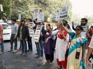 Activists of students' organisations holding a protest