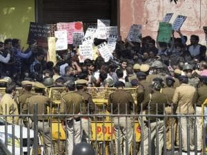 Students protest against ABVP, police after Ramjas violence