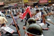 Kolkata: Police lathi charge SUCI activists