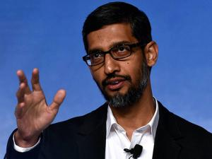 Google CEO Sundar Pichai addressing a program