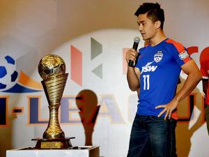 Bengaluru FC captain Sunil Chhetri speaks during a press conference for the next season of I-League Football starting from January 2017
