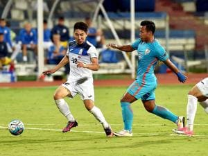 India Football player Lalpekhlua and Manybekov Amanbek during the AFC Asian Cup UAE 2019 Qualifier