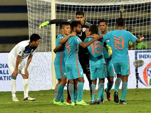 India Football players celebrates after they win during the AFC Asian Cup UAE 2019 Qualifier