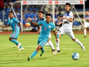 Sunil Chettri during the AFC Asian Cup UAE 2019 Qualifier between India & the Kyrgyz Republic