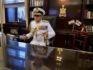 India's new Naval Chief, Admiral Sunil Lanba in his office after taking over as Navy chief from R K Dhowan, at South Block in New Delhi