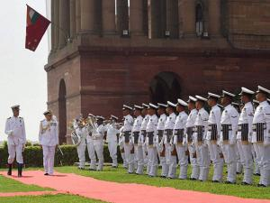 India's new Naval Chief, Admiral Sunil Lanba  inspects the Guard of Honour at South Block before to taking over as the Chief of Naval Staff