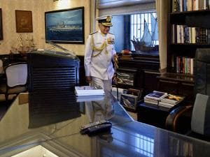 India's new Naval Chief, Admiral Sunil Lanba taking over the charge of the office at South Block