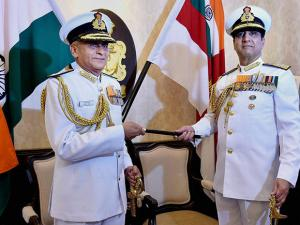 Outgoing Navy chief Robin K Dhowan handing over the baton to the new Naval Chief, Admiral Sunil Lanba at South Block, in New Delhi