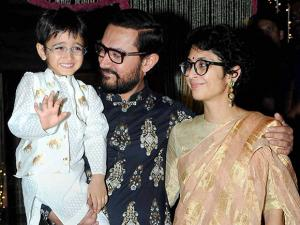 Aamir Khan along with his wife Kiran Rao and son Azad Rao Khan during Diwali celebrations