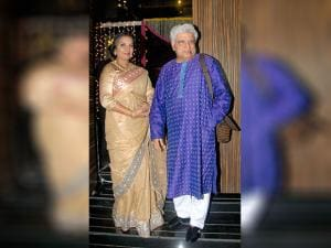 Javed Akhtar along with his wife and actor Shabana Azmi during Aamir Khan's Diwali celebrations