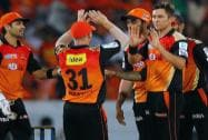 Trent Boult of the Sunrisers Hyderabad celebrates the wicket of Glenn Maxwell