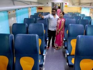 A couple snaps selfie inside a coach of Tejas Express before it was flagged off