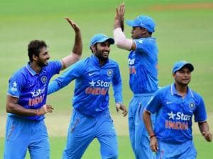 India 'A' player S Arvind along with other players