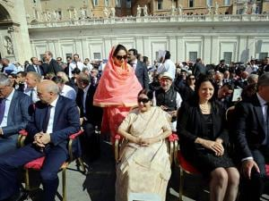 Sushma Swaraj and Harsimrat Kaur attending the canonization ceremony of Mother Teresa in Vatican City