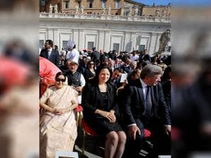 Sushma Swaraj  attending the canonization ceremony of Mother Teresa