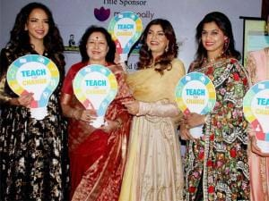 Actor Sushmita Sen with former Minister J. Geeta Reddy and others during the launch of Teach For Change, 2016 Campaign at Hyderabad