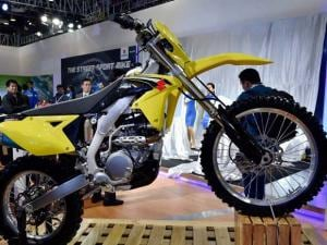 Suzuki dirt bike on display at Auto Expo 2016