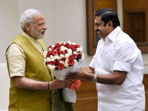 PM Narendra Modi with  CM of Tamil Nadu Edappadi K. Palaniswami during their meeting  New Delhi