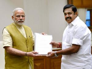 Prime Minister, Narendra Modi with  Chief Minister of Tamil Nadu,  Edappadi K. Palaniswami during their meeting  New Delhi